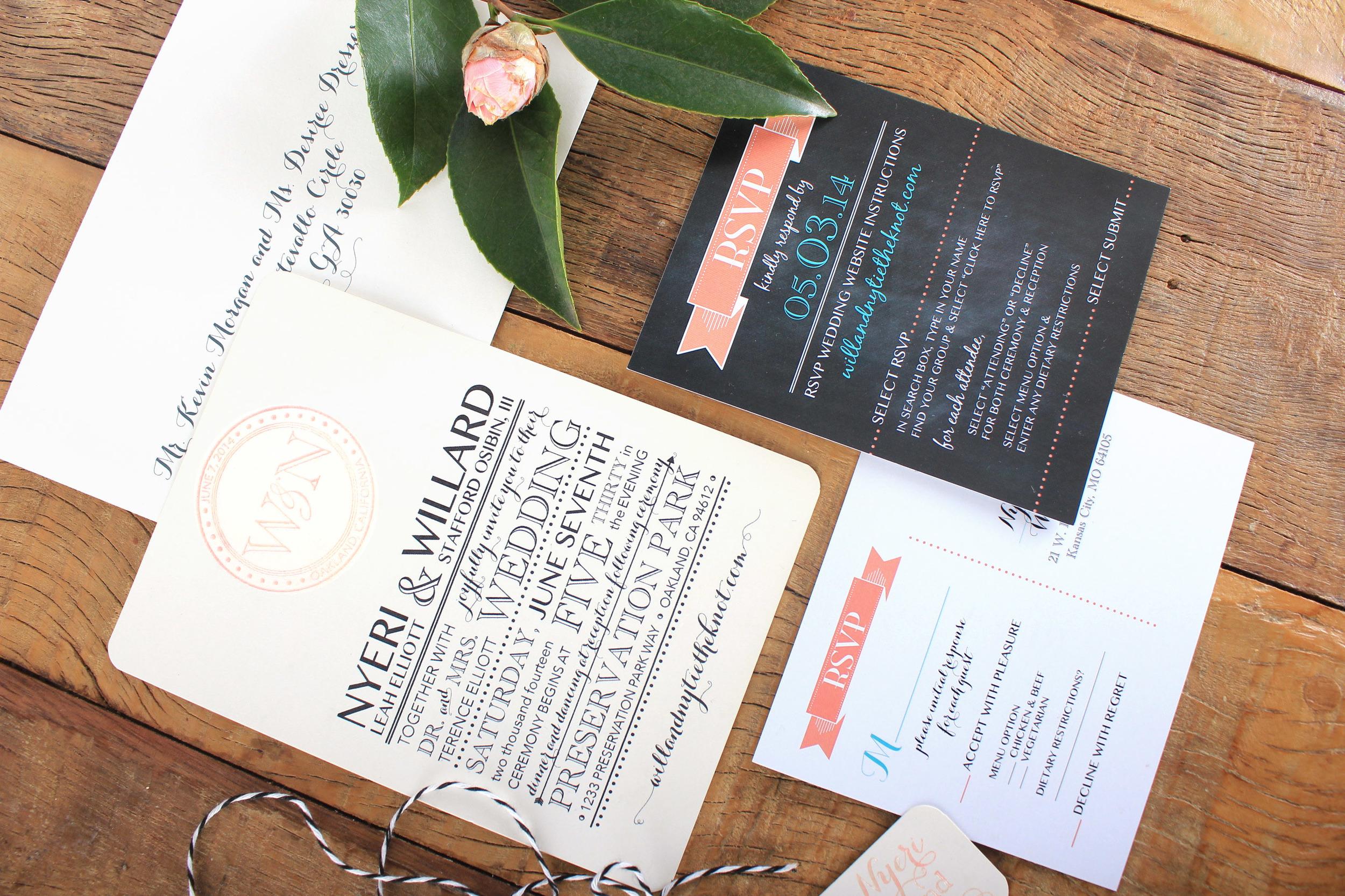 vintage chalkboard inspired wedding invitation