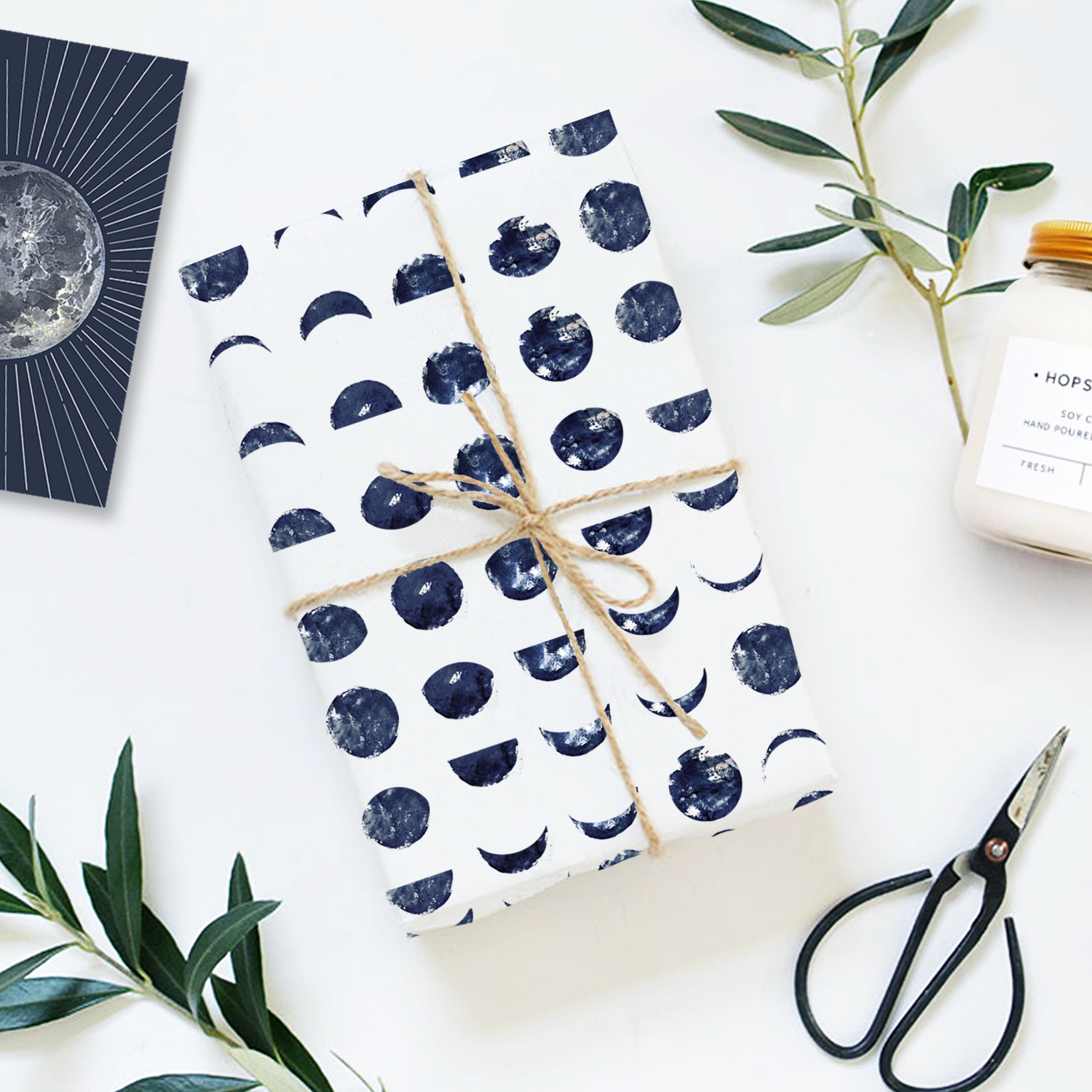 Free moon lunar phases Gift Wrap