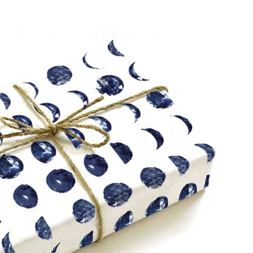 printable moon lunar phases gift wrap