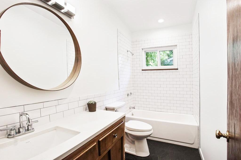 Guest bathroom subway tile