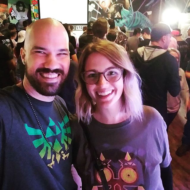 You know you found a #rideordie when she rolls with you to watch some gamers #speedrun #zelda, #metroid and #supermario games. #nerdalert #snes #zeldashirt #linktothepast #supermetroid #grandpoobear #mariomaker2 #luckysarcade