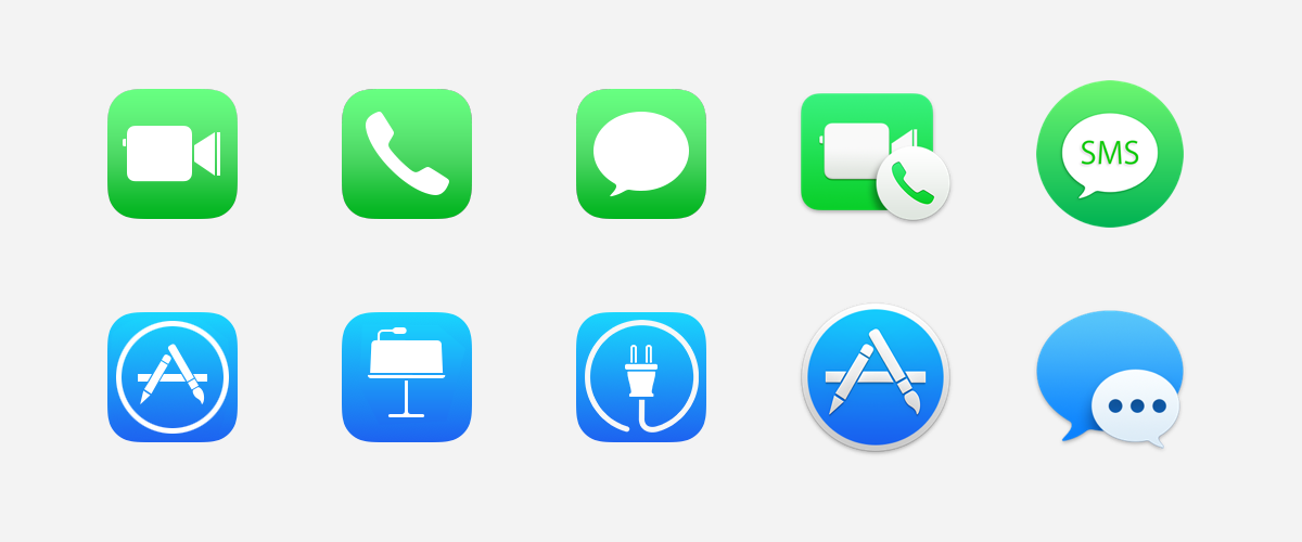 Apple's much-reviled green and blue gradients are not used in isolation. They are strewn around their platforms.
