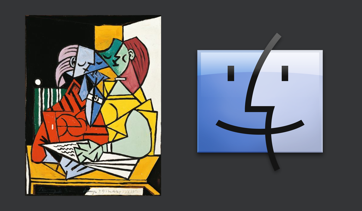 Picasso's Two Characters (1934) is referenced in Apple's OS X Finder icon.