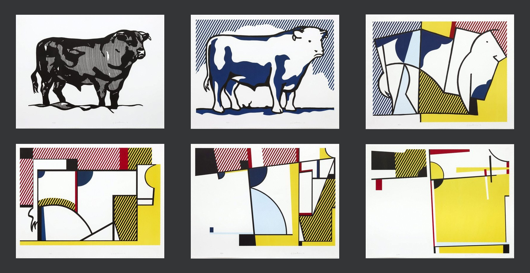 Roy Lichtenstein, Bull I-VI (1973). These paintings were  influenced  by both Picasso and van Doesburg.