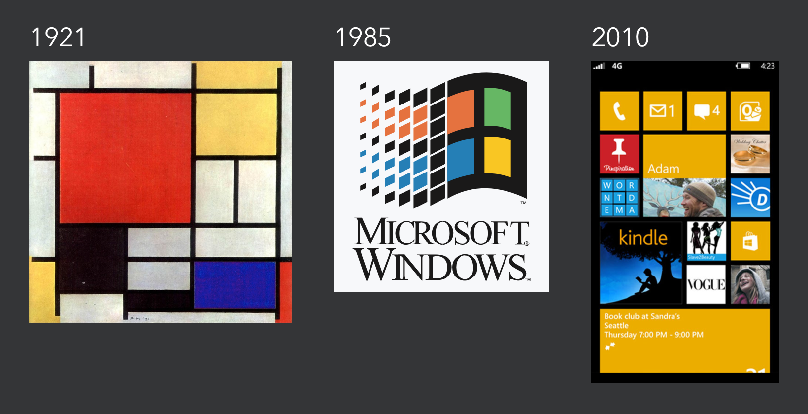 De Stijl painter Piet Mondrian produced Composition with Red, Yellow, and Blue in 1921. His work had an immense impact on design thought. Notice the similarity to the original Windows Logo and the aesthetic of Windows Modern.