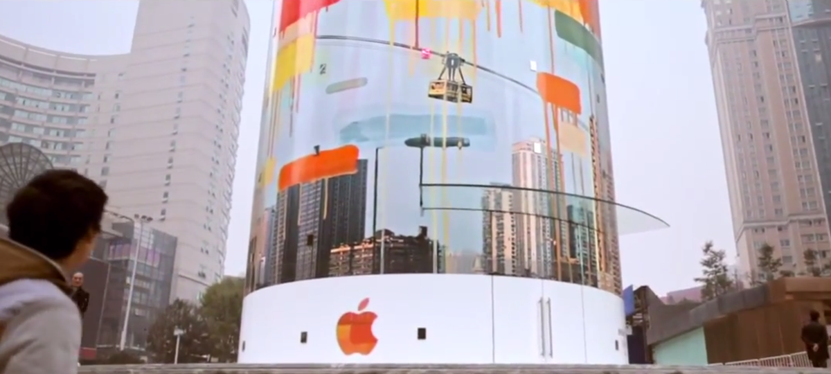 "Apple paid homage to Jackson Pollack's drip painting by spoiling the public scenery with their new Jiefangbei, China ""About the Artists"" Apple Store. In doing so, they make the smoggy, polluted air look good in comparison."