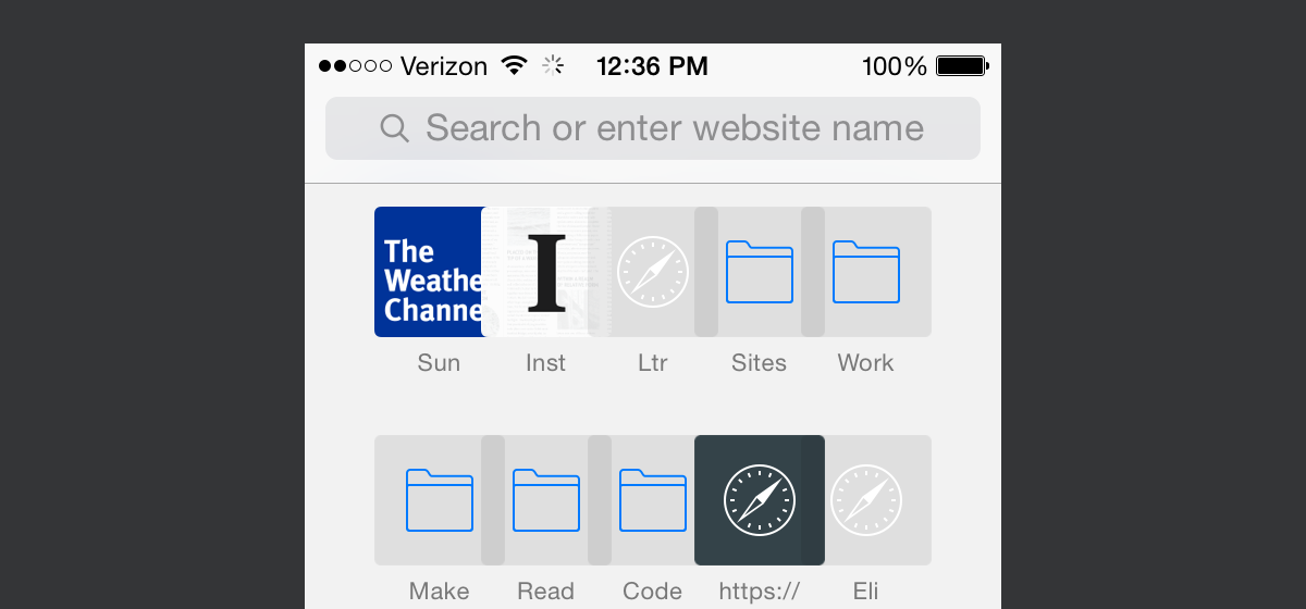 Jony Ive's iOS 7 was introduced with many visual bugs that left a sour taste in the mouths of those expecting fit and finish from Apple. iOS 8 still contains many visual design bugs. In this example, bookmarks in Safari inexplicably overlap with each other.