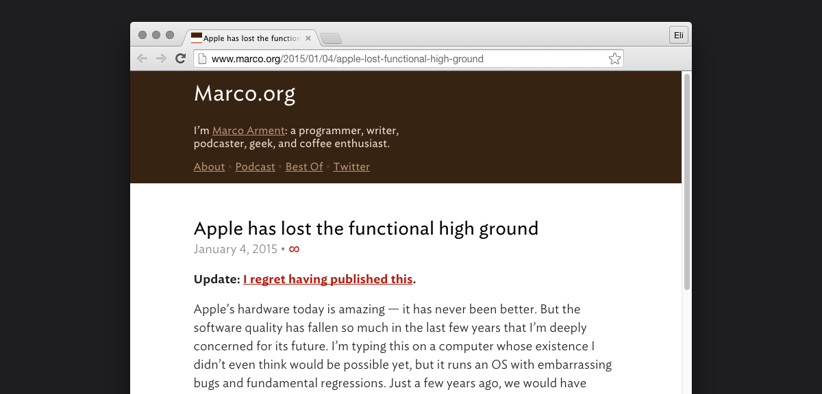 """Marco Arment's blog post: """"Apple has lost the functional high ground."""""""