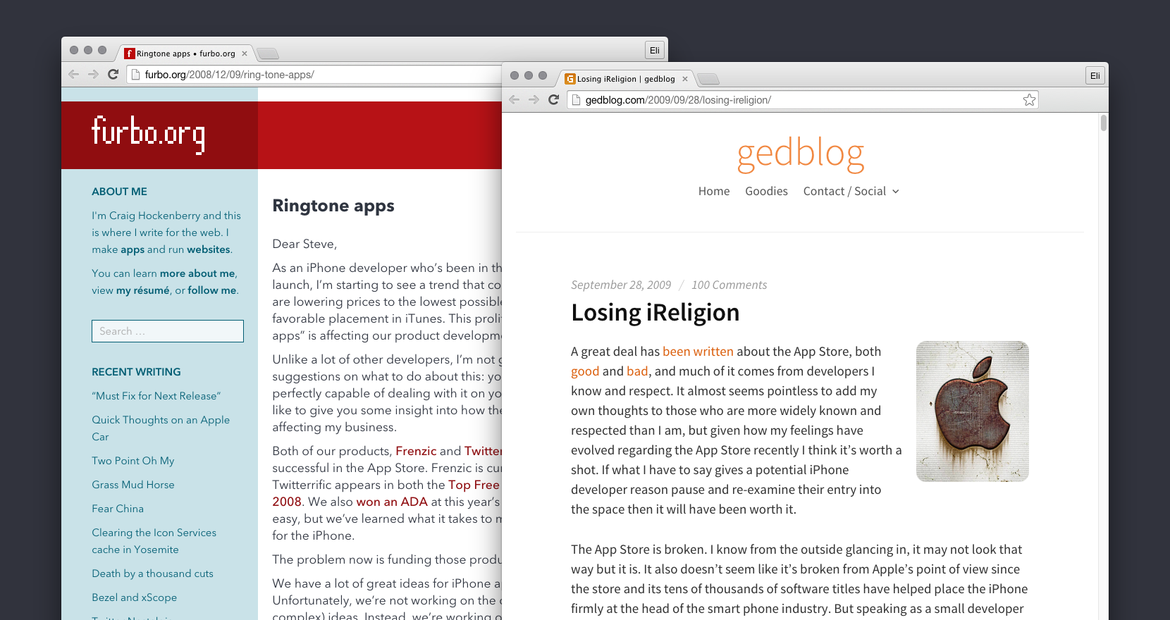 Ged Maheux and Craig Hockenberry's early blog posts about App Store incentives.