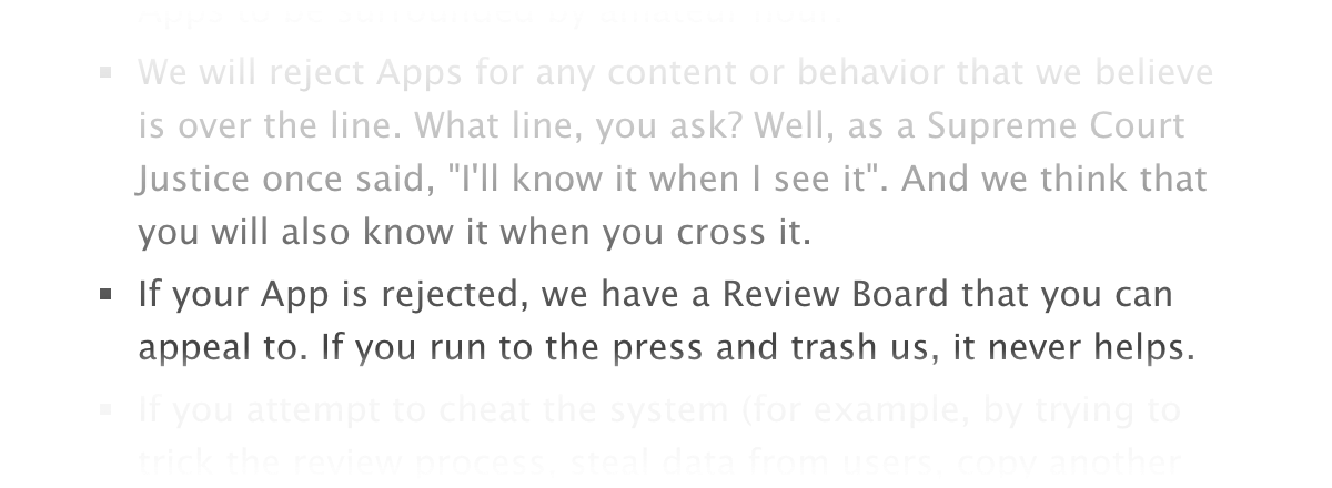 Apple warns developers not to talk publicly about app review difficulties.