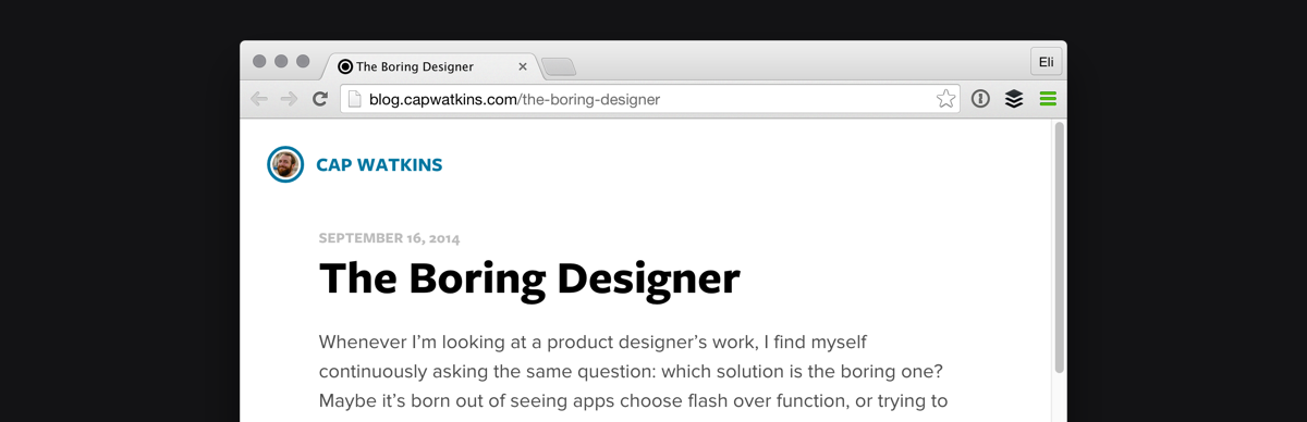 Cap Watkins is on a quest to hire as many boring designers as possible.