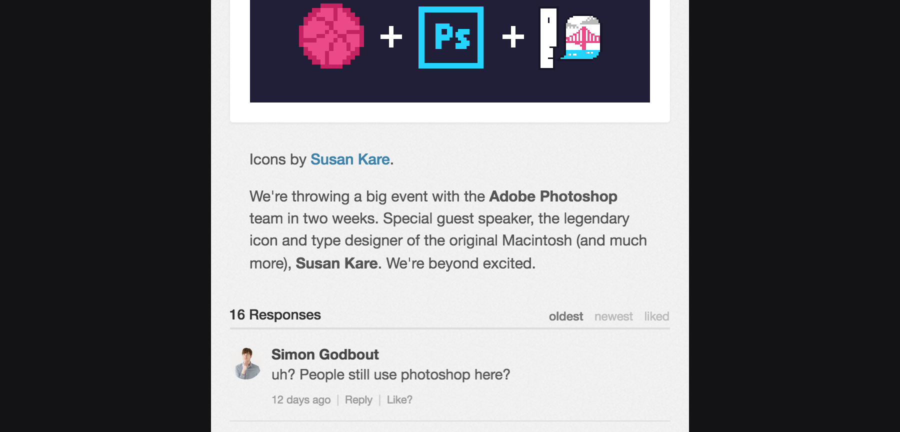 This Dribbble comment went without a response after being seen by 6000 visual designers.