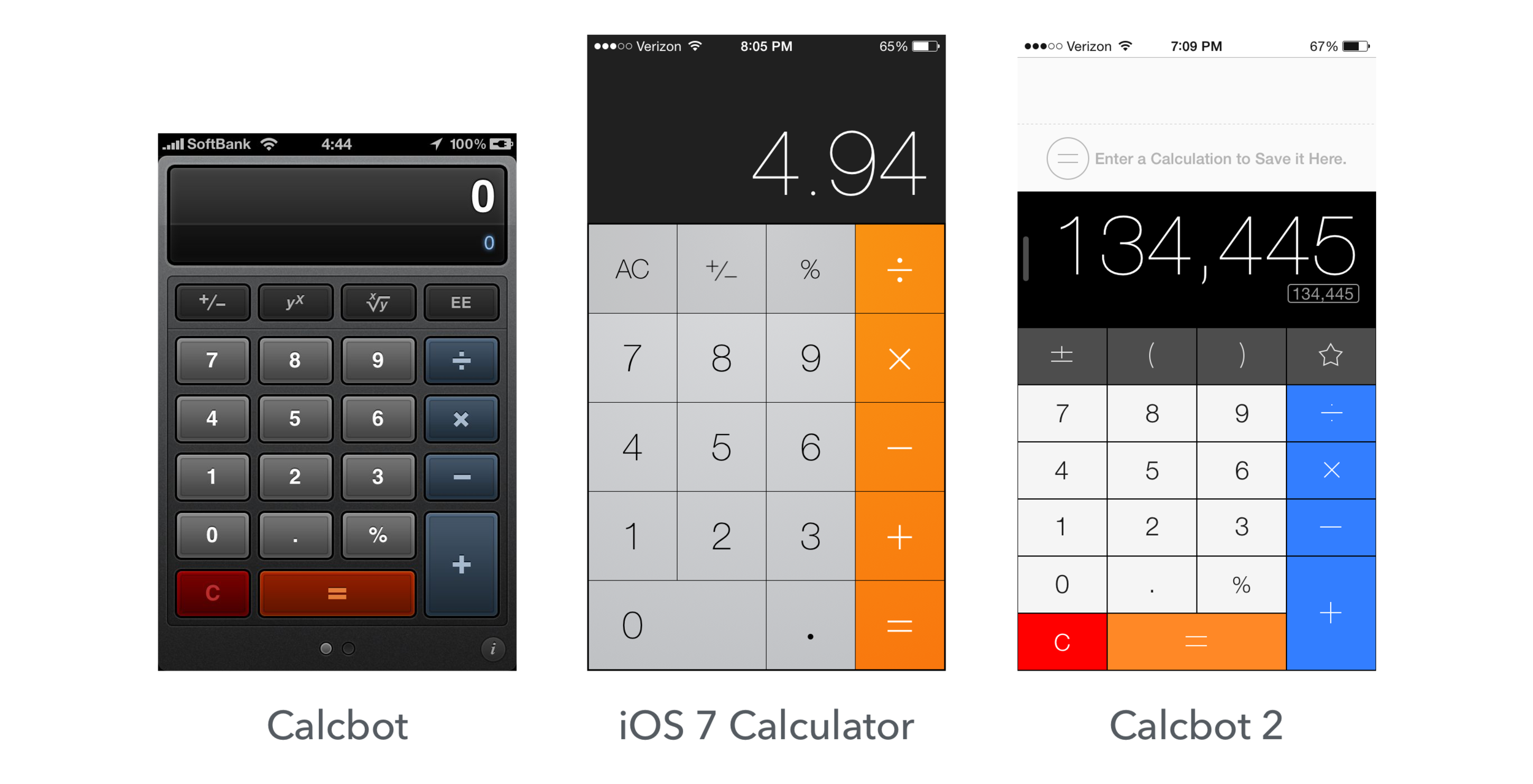 Calcbot for iOS used to have a distinctive flavor that set it apart from the competition. Today it looks eerily similar to the default calculator app.