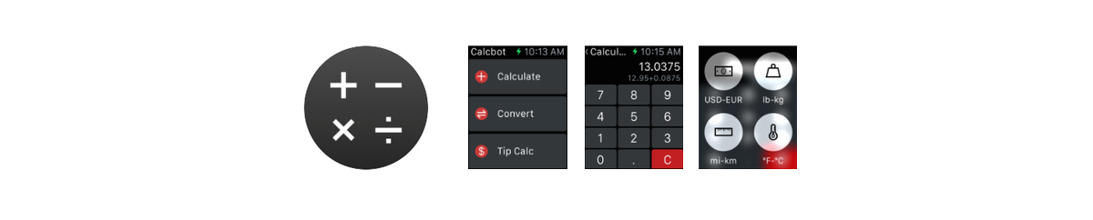 Calcbot for Apple Watch takes the non-branded brand to a whole new level: Tapbots does not even include their one remaining signature: the Tapbots blue.