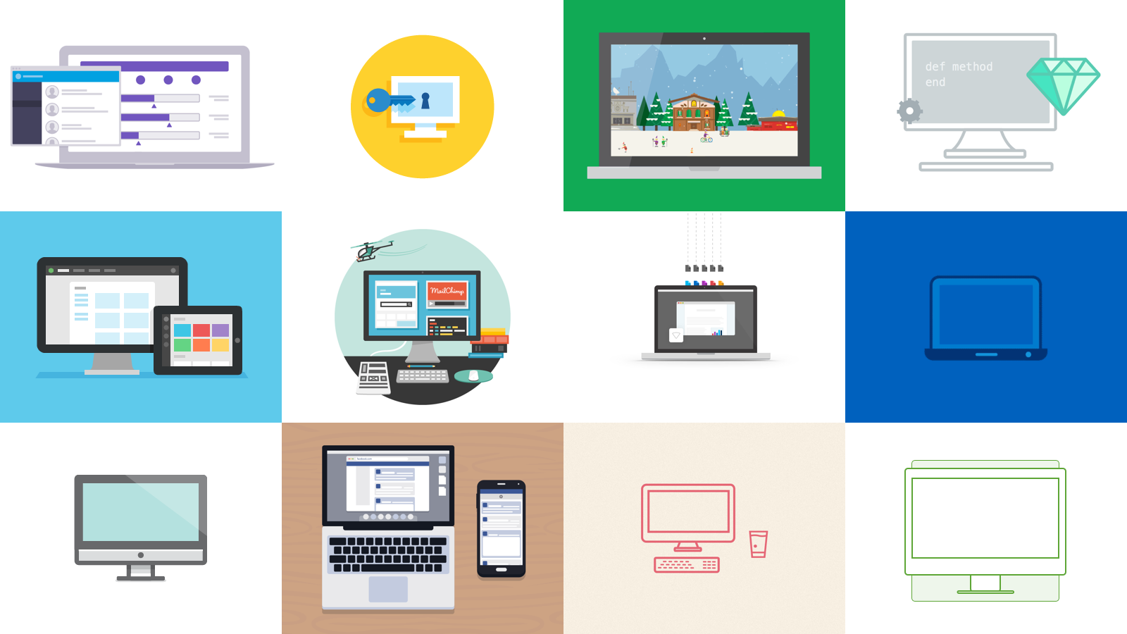 One can find modern minimalist creativity displayed throughout the industry. In order: Heroku, Palantir, Google, Thoughtbot, Treehouse, MailChimp, Box, Intel, Dropbox, Facebook, Campaign Monitor and InVision.