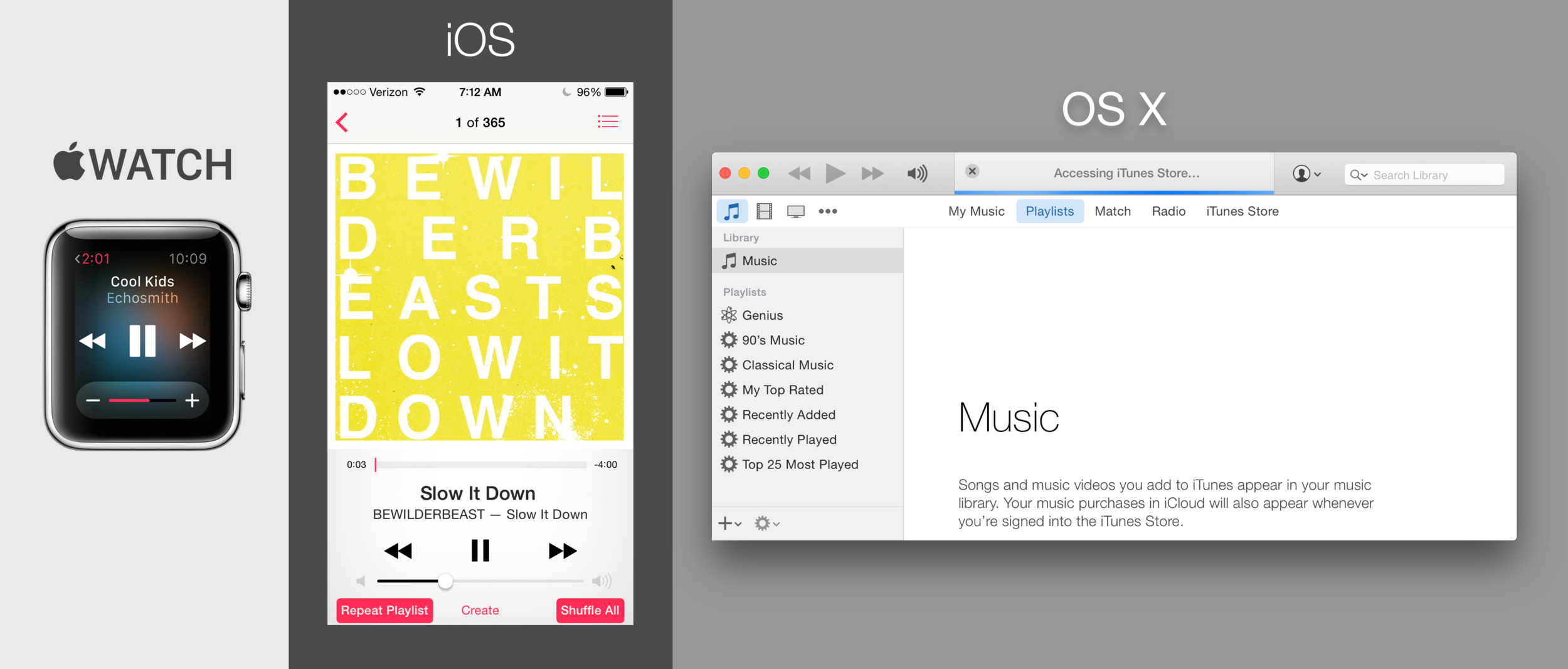 Apple takes a non-responsive approach to their visual design. These are renderings of each platform's music player interfaces.