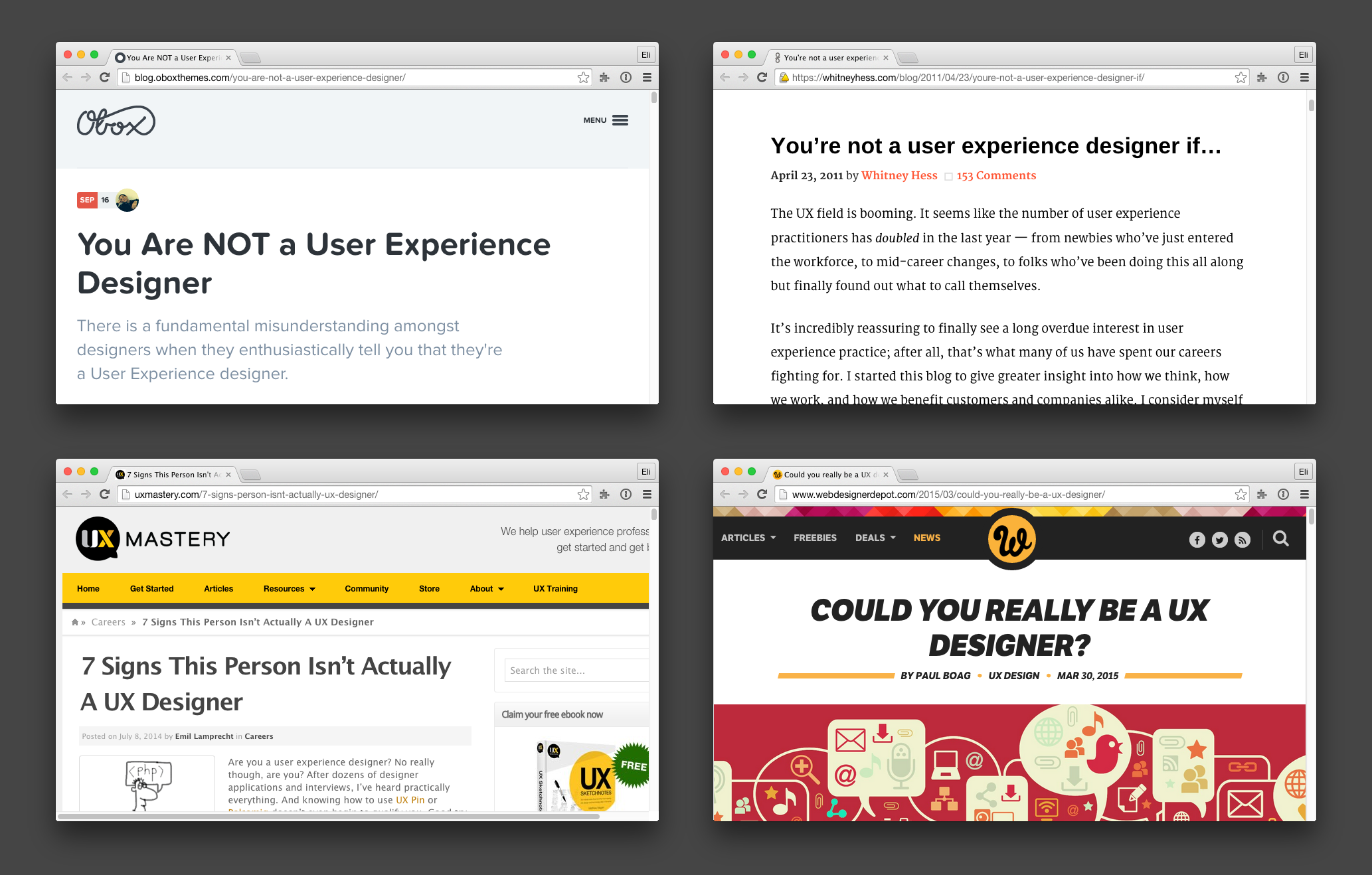 "Articles by UX practitioners attempting to restrict who can and cannot assume the title ""UX designer."""