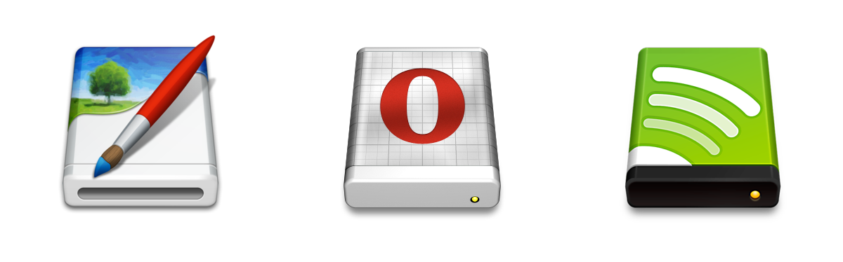 .dmg icons for DMG Canvas, Opera and Spotify.