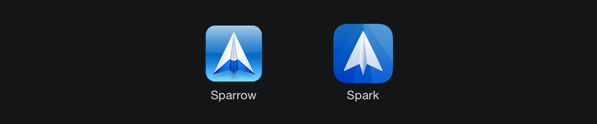 Mail apps: Sparrow icon direction (2012) and Spark (2015).