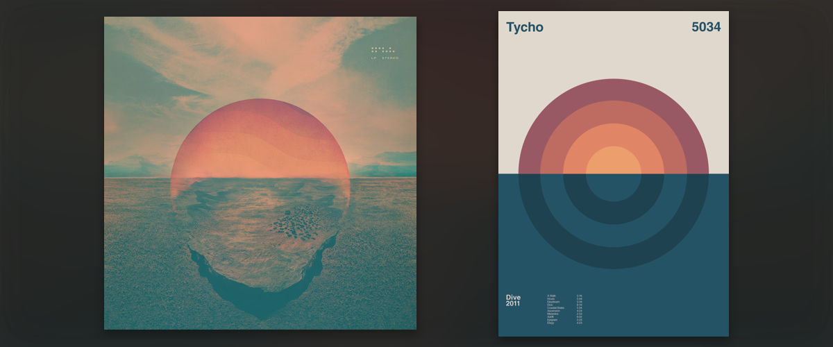 "Tycho's ""Dive"" album cover (left) and an abstracted interpretation by Duane Dalton for his   Album Anatomy   project (right)."