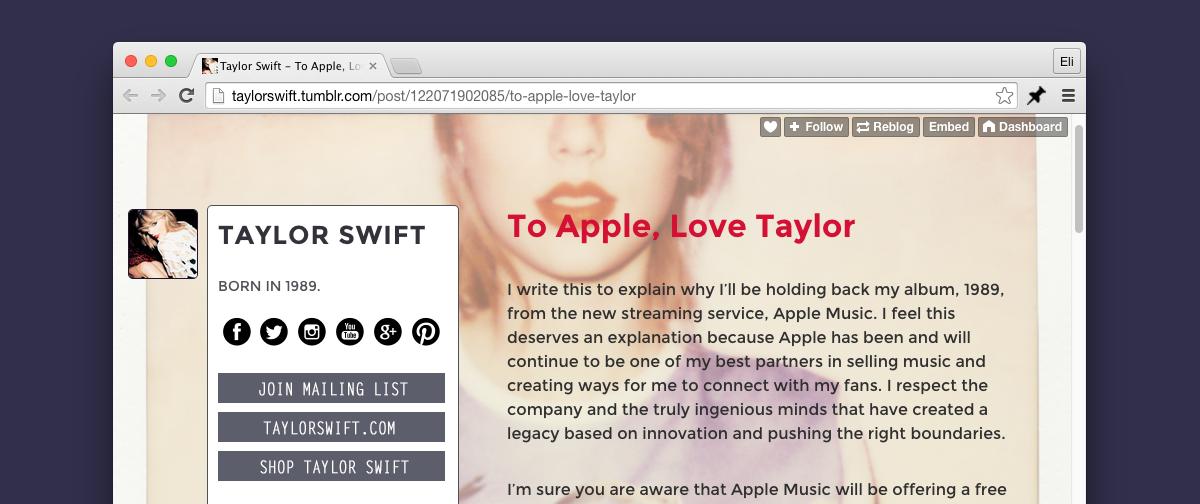 Swift's love letter to Apple.