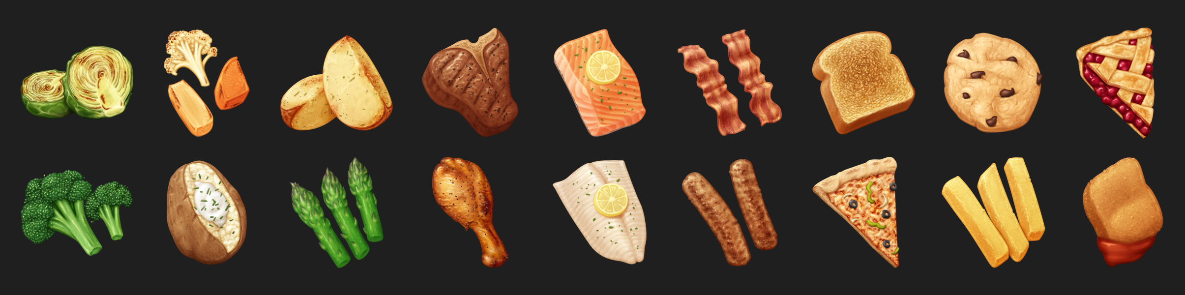 Detailed food category illustrations.