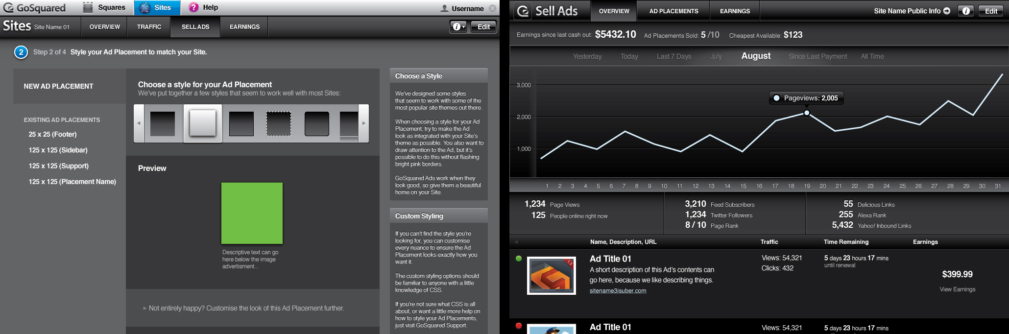 Early advertising dashboards for GoSquared customers.