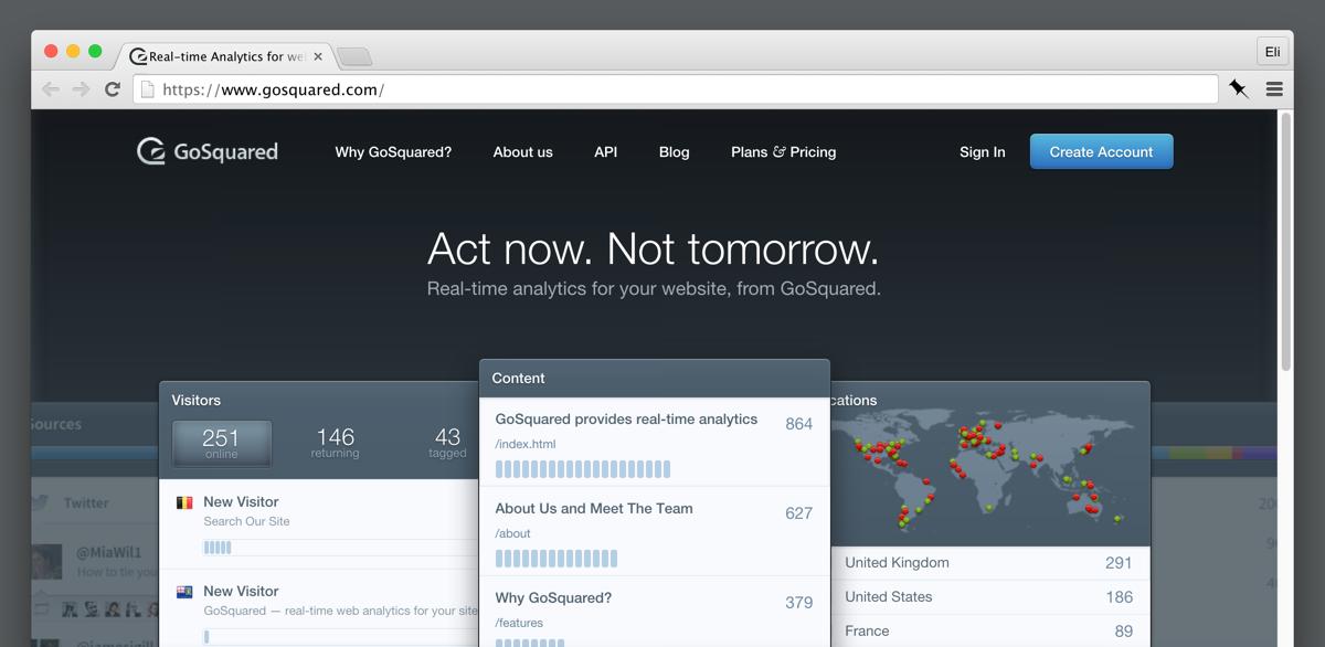 GoSquared's marketing site (2013).