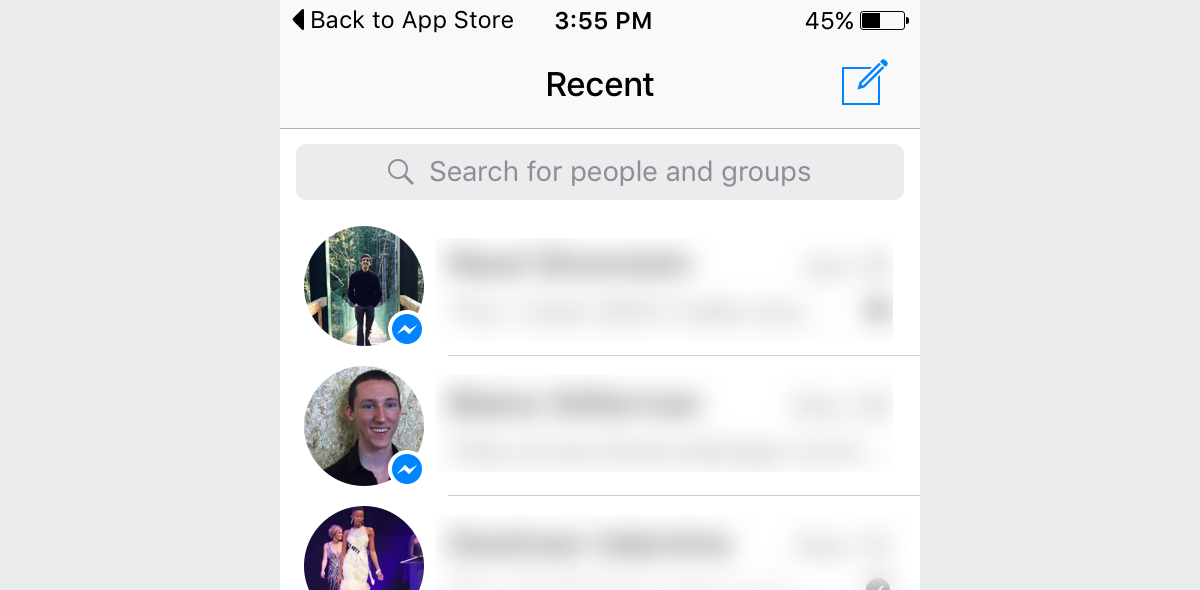 Facebook Messenger with white navigation bar.