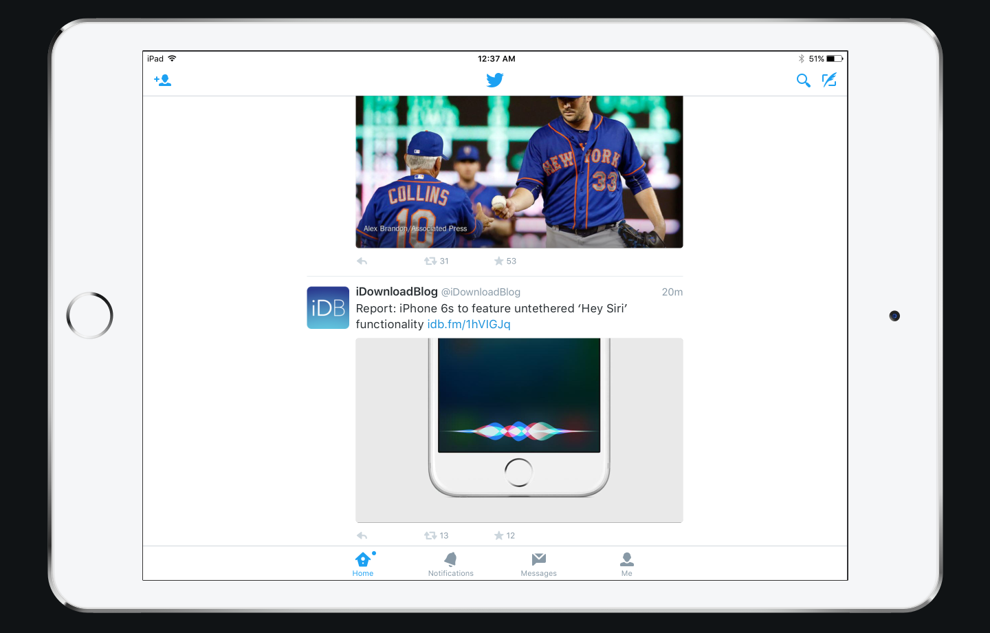The Twitter for iPad actually looks reminiscent of the old Twitter for Android, set in white. It has tons of useless white space, the very thing that Cook chastised not three years ago. Today in iOS 7, it's a virtue.