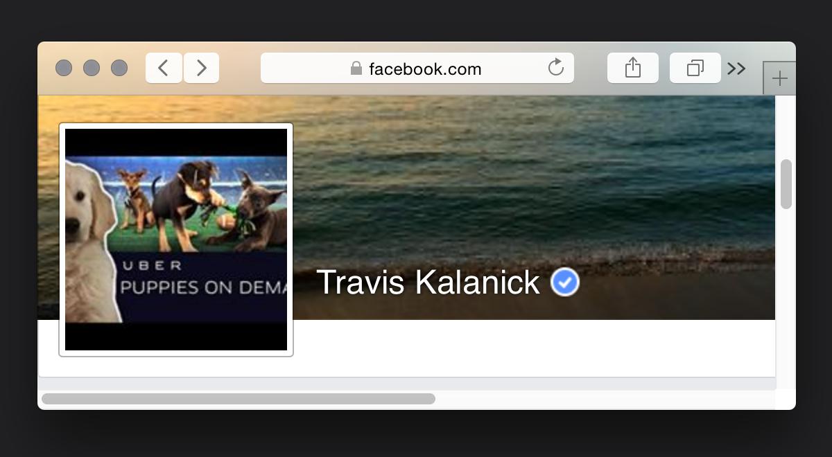 Kalanick's Facebook profile.