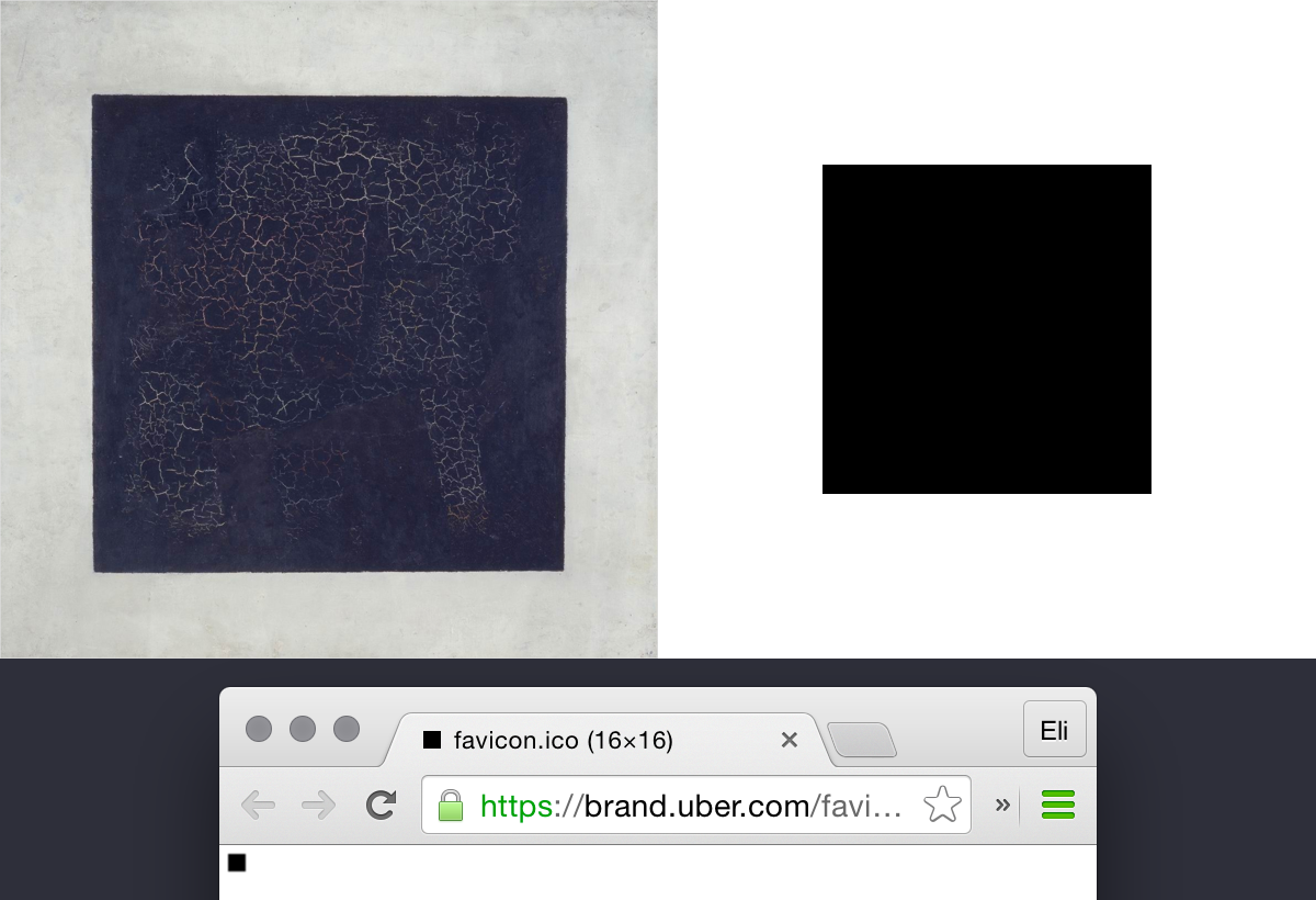 The bit makes for a great favicon, and reminds us of the great work of early modernist painters. Left, Kazimir Malevich, Black Square, 1915. Right, Uber Favicon, 2016.