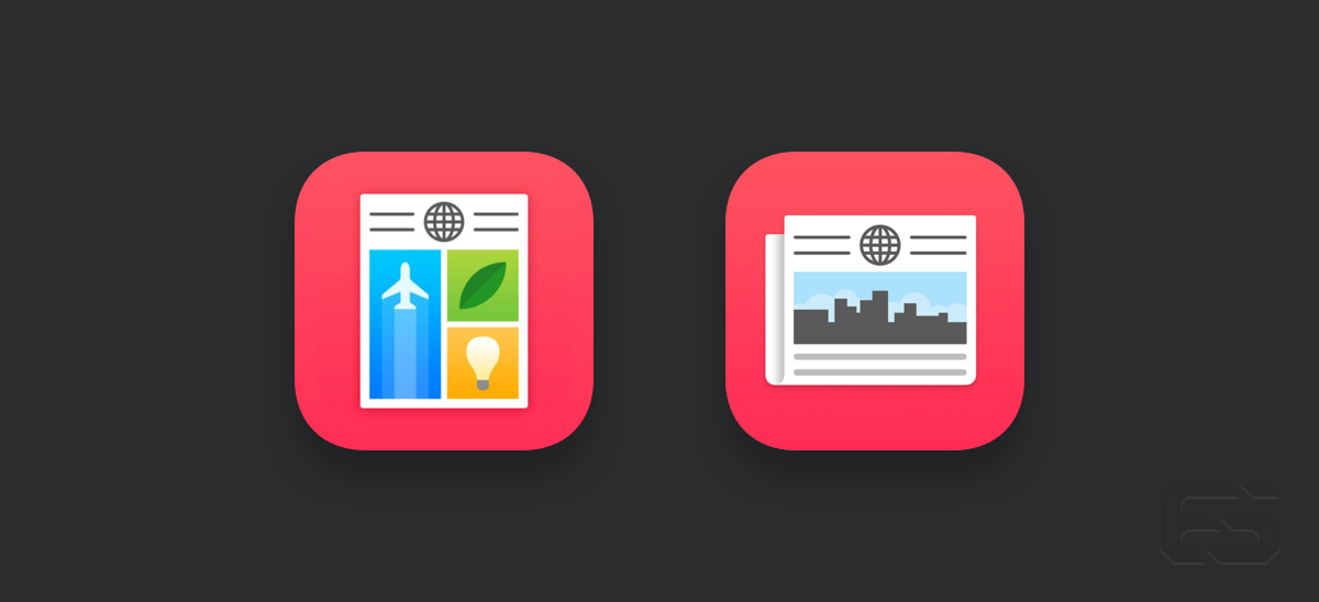 Apple News' second iteration seems more appropriate in that it makes better skeuomorphic reference to the traditional form of newspapers, but loses some of the character of the original approach.