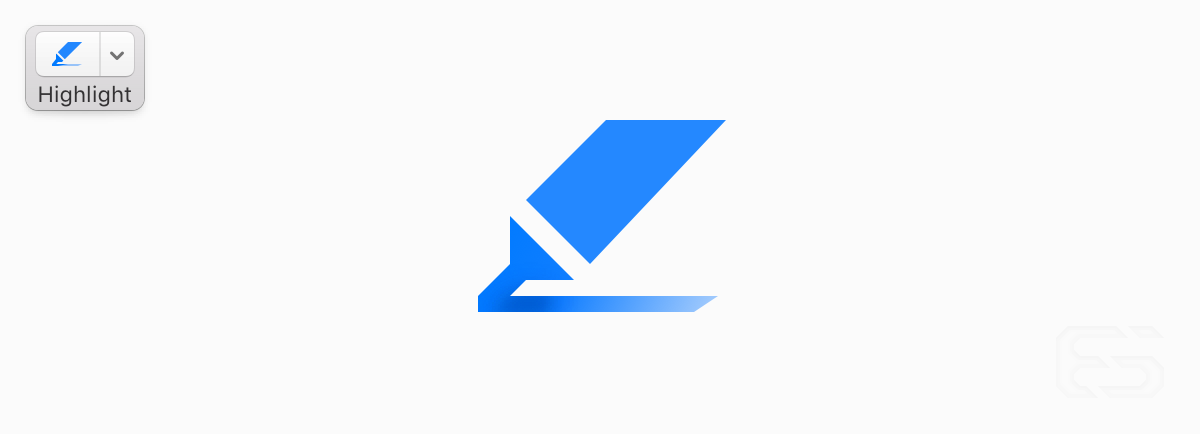 The Preview app glyph for highlighting has an incredibly clever use of gradients that's subtle but effective. This is the kind of icon artistry that we simply don't see anymore. Here I've exploded and redrawn the icon to show its detail.