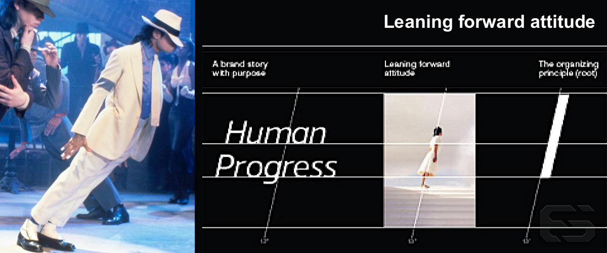 Left: Michael Jackson's Smooth Criminal, right: Moving Brands' brand guidelines.