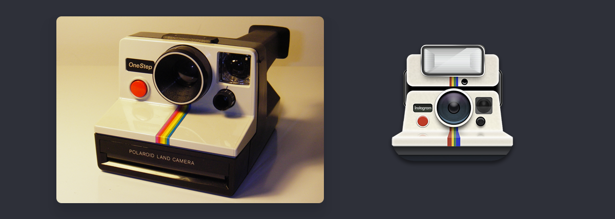 The Polaroid OneStep SX-70 and Systrom's 1.0 icon (without mask.)