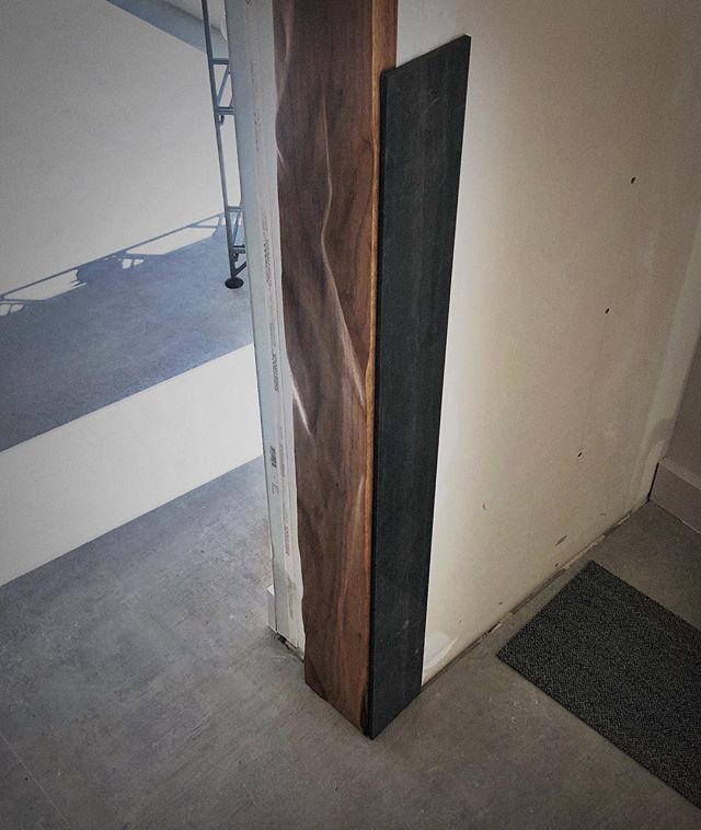 Sample approved....hand carved walnut jambs coming up  with black large format tile 🔥🔥 #integrity_construction_inc #contractor #builder #remodeler #renovator #millwork #custommillwork #walnut #blacktile #largeformattile #minnesota #twincities