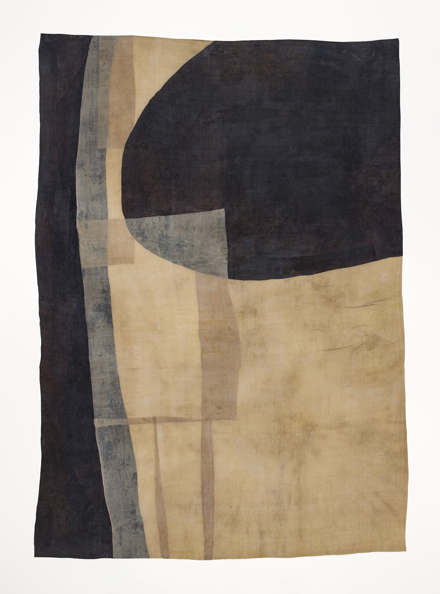 By Way of Water by Moira Bateman  Waxed cloth assemblage with waterway stained silk  5'x7'