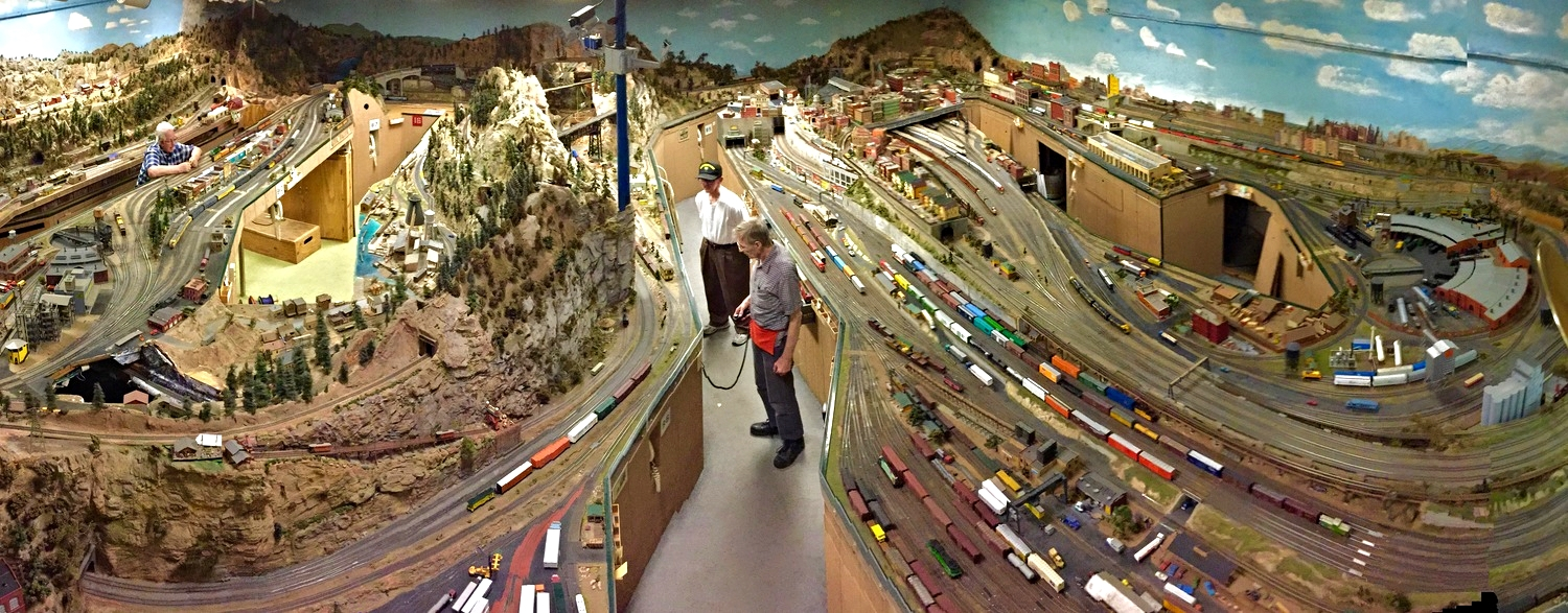 Panoramic view of the Highland Pacific Railroad layout