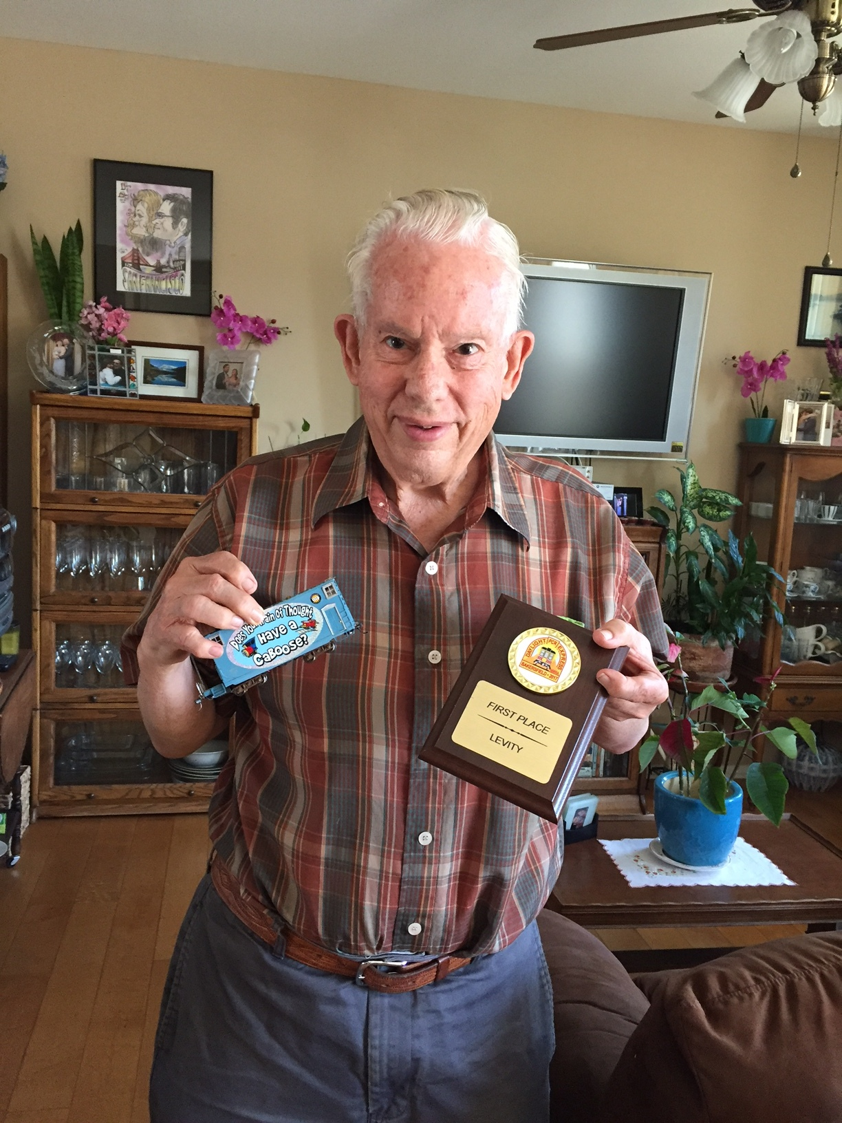 Bill Chappell with his first-place, whimsical caboose.