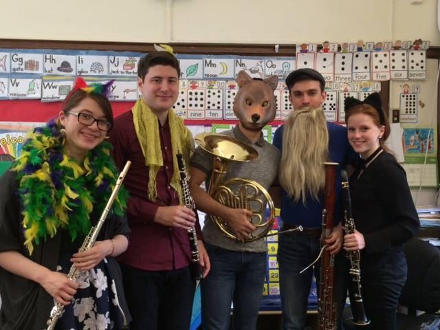 THE QUINTET (L - R): Mona, flute; Sam, oboe; Christian, French Horn; Micah, bassoon; Brittnee, clarinet