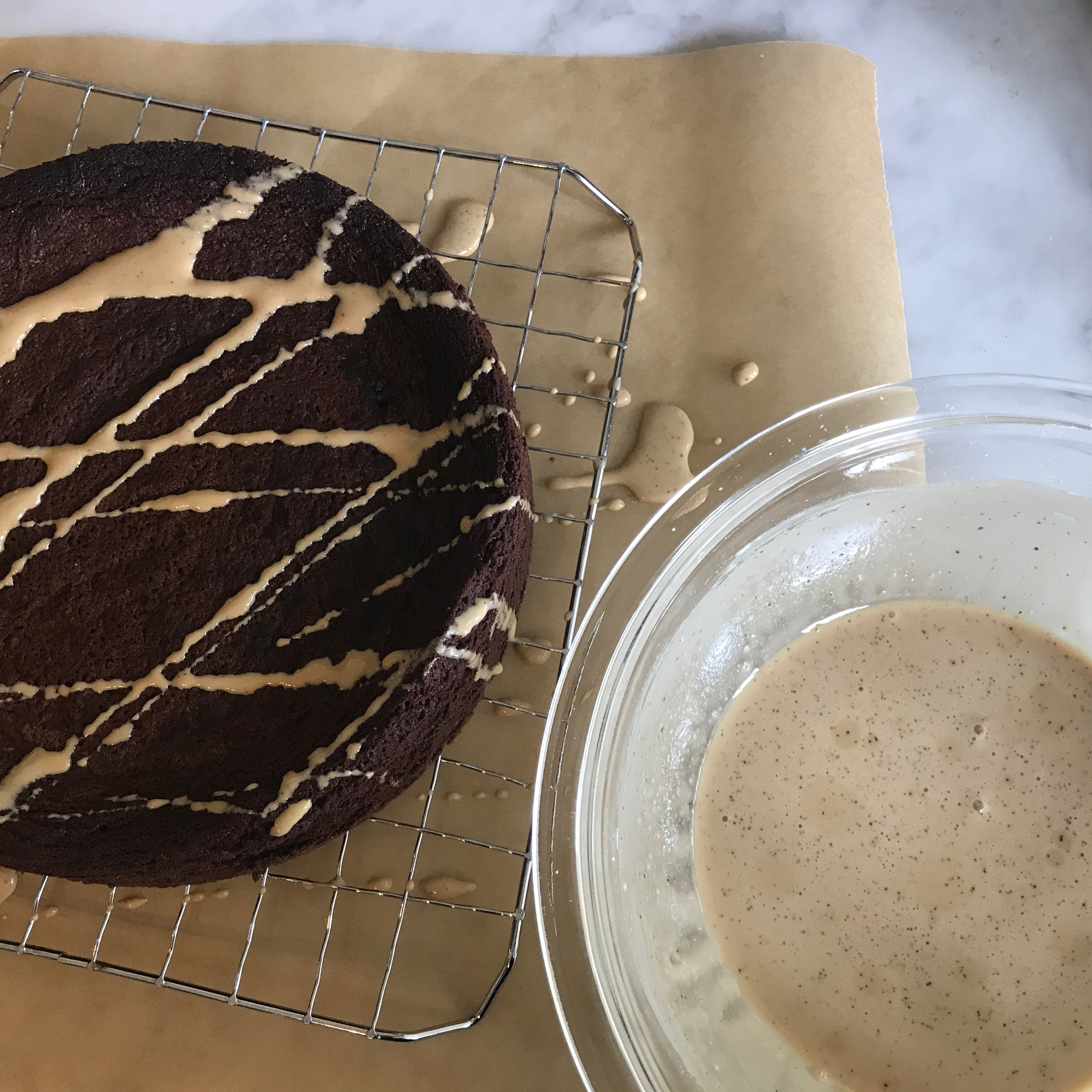 """Our Family's Traditional Celebratory Cake,""""Norm's"""" Chocolate Decadence, Shown with Drizzle of Coffee Glaze"""