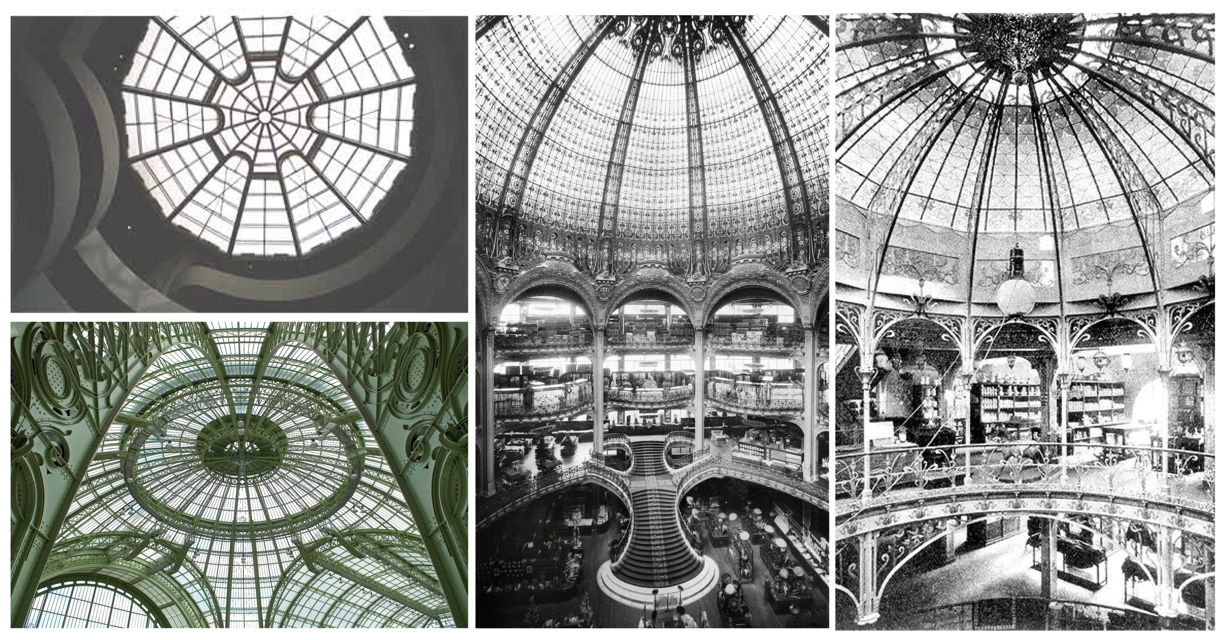 Paula Alaszkiewicz, slide from 'The Labyrinth of Fashion Display,' 2017 The Guggenheim Museum (Top Left); The Grand Palais (Bottom Left); The Galeries Lafayette (Centre); Printemps (Right)