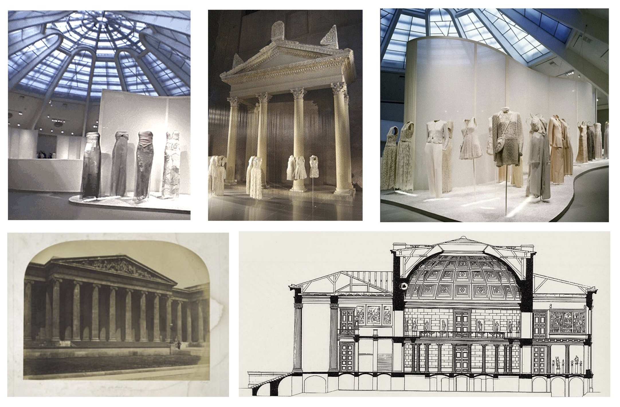 Paula Alaszkiewicz, slide from 'The Labyrinth of Fashion Display,' 2017 Installation views of  Giorgio Armani , Guggenheim, 2000 (Top); British Museum, c. 1859-1859 (Bottom Left); Section of Altes Museum, designed 1830 (Bottom Right)