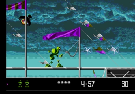 VectorMan is Sega's equivalent of Donkey Kong. They rendered... a robot with attitude.