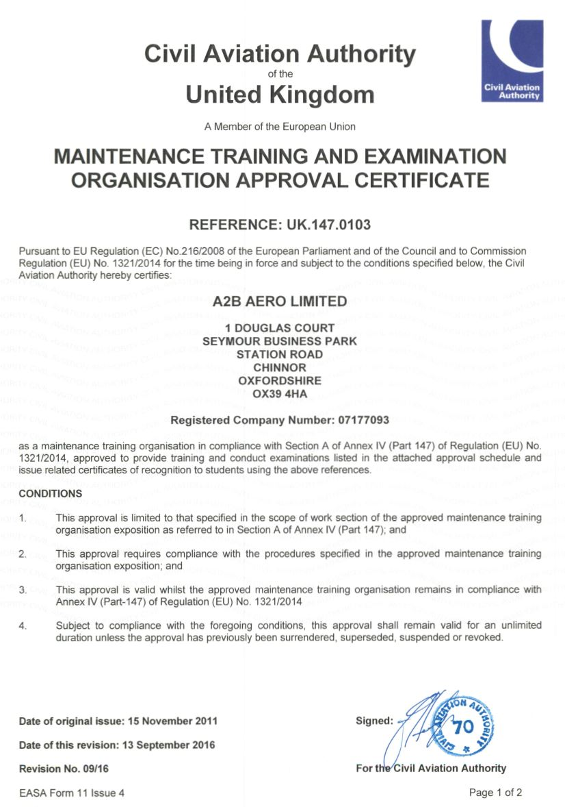 Part 147 Certificate Page 1 of 2