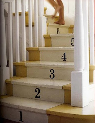 Numbered Stair Risers – This simple idea would be great for a young family with kids! (from studiobcreativejuice.com)