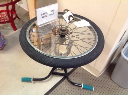 We found this handle-bar spin table from the Recycler - Bicycle Art and Funky Furniture to be very interesting.