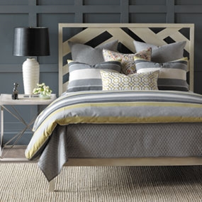 We loved the bedding and decorative pillows we saw at Eastern Accents.   This is Wainscott in Citron from designer Thom Felicia's new luxurious line that brings his imaginative aesthetic to any bedroom.