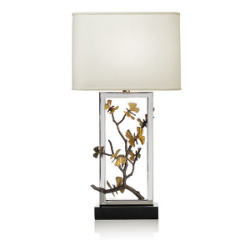 We love the Michael Aram showroom. He is an American born artist who works primarily in metal. His designs for tableware and furniture are beautiful and organic. Each piece is entirely handmade with no two examples being exactly the same. This is his Butterfly Ginko Lamp.